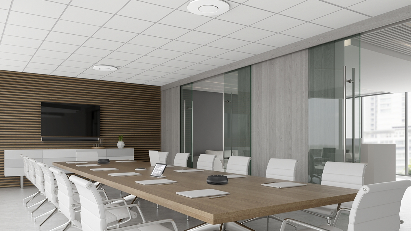Stem ceiling mounted conference room microphone in board room